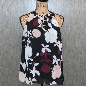 Vince Camuto High Pleated Neck floral top size XS